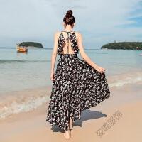 夏季海边碎花连衣裙大露背荷叶边深V雪纺长裙度假沙滩裙女夏 白底碎花