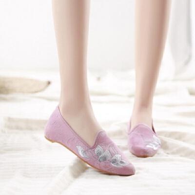 2019春夏季中国风汉服绣花鞋荷花刺绣坡跟增高时尚尖头布鞋女单鞋