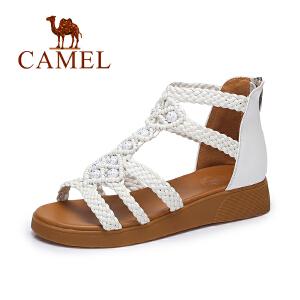 camel骆驼女鞋 夏季新品时尚编织凉鞋女 波西米亚甜美平跟凉鞋