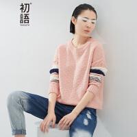 初语 春季新品  撞色扭花拼接宽松圆领长袖针织衫女8630323802