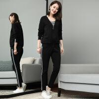 微胖套装大码女胖mm妹妹新款减龄早秋洋气长裤显瘦时髦韩版三件套 黑色