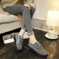 帆布鞋女韩版魔术贴厚底复古运动跑步鞋学生单鞋原宿风板鞋女鞋子