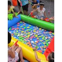 宝宝磁性钓鱼玩具充气水池公园儿童钓鱼池套装