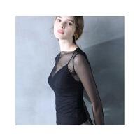 蕾丝打底衫女长袖黑纱上衣内搭紧身薄纱网纱透明纱衣