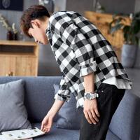 [2.5折价68.9元】唐狮格子衬衫男长袖秋冬保暖休闲黑白格子衫磨毛加绒加厚红色衬衣