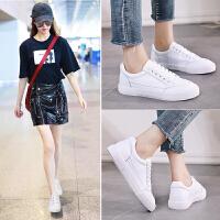 夏季流行女鞋小白鞋女牛皮透气女板鞋潮2019新款女学生时尚运动休闲鞋 白色