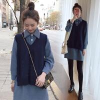 2019新款衬衫套装毛衣两件套装连衣裙春秋冬季孕妇春装套装时尚款
