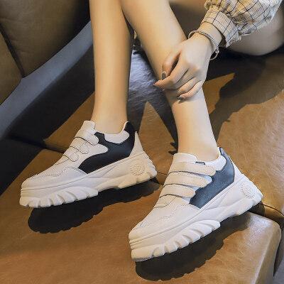 运动鞋2019新款女韩版秋季厚底松糕跟老爹鞋女ins潮时尚休闲鞋女