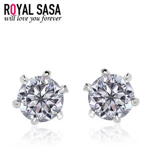 皇家莎莎925银耳钉女韩国版简约仿水晶气质耳坠耳饰品 花之凝露