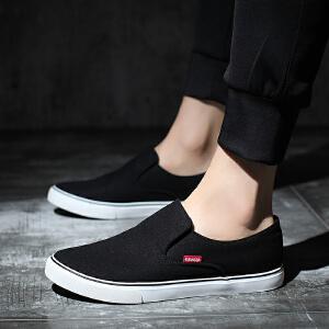 匡达平底懒人白色男鞋子平板鞋一脚蹬休闲鞋老北京布鞋男士帆布鞋