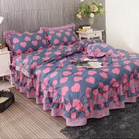 床上用品四件套全棉纯棉床单被套床裙式公主风1.8m米床荷叶边 2*2.2米床 被套220*240cm