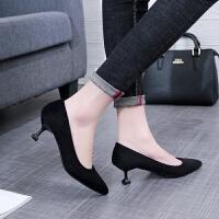 2018春秋季新款黑色职业高跟鞋细跟尖头单鞋女正装百搭中跟女鞋子