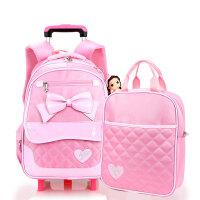 咔米嗒儿童拉杆书包小学生女生1-3-5年级韩版护脊女孩双肩包