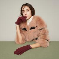 针织女士手套薄款驾驶骑行开车可爱保暖防滑手套短款