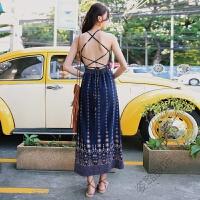 连衣裙女夏2018泰国度假性感露背系带雪纺沙滩裙仙 图片色