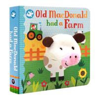 进口英文原版绘本 Old Macdonald had a Farm 亲子互动纸板书 小手掌书手指偶 宝宝玩具书