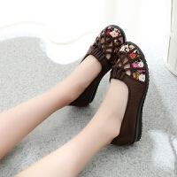 春夏季单鞋 老北京布鞋女平跟镂空圆头浅口女鞋中老年妈妈网凉鞋