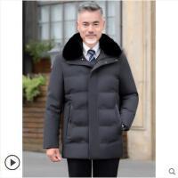 男士新款冬�b棉服外套中老年人加�q加厚中�L款毛�I棉衣爸爸�b