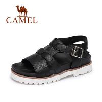 Camel/骆驼女鞋 春夏新款 休闲低跟罗马鞋 一字扣厚底凉鞋