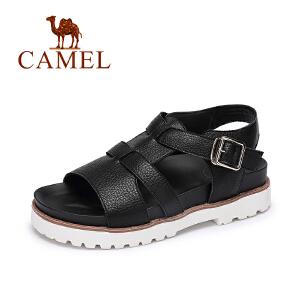 Camel/骆驼女鞋 2017春夏新款 休闲低跟罗马鞋 一字扣厚底凉鞋