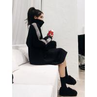 中长款加绒高领卫衣2018新款女长袖韩版宽松拼接连衣裙秋冬季过膝 黑色