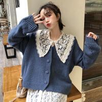 很仙的毛衣女装秋冬新款韩版宽松娃娃领衬衫洋气百搭针织衫两件套