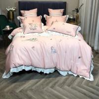 床上用品四件套全棉木马爱心刺绣公主风纯棉被套