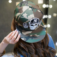 男女帽子平沿帽迷彩嘻哈帽刺绣棒球帽男 情侣户外迷彩遮阳帽韩版NY帽