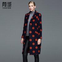 颜域品牌女装2017冬装新款欧美波点西装领中长款大衣