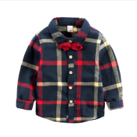 宝宝领结衬衫 男童纯棉春秋装新款2018童装上衣 儿童格子长袖衬衣