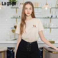 【5折价79】Lagogo/拉谷谷2019年夏季新款印花短袖纯棉T恤女IATT313G60
