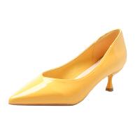 单鞋女2019夏款洋气高跟鞋女细跟3cm百搭浅口尖头小跟酒红色瓢鞋