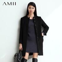 【1件7折/2件5折 再用券】AMII[极简主义]女装休闲双层门襟大码羊毛呢大衣外套长款女11480576