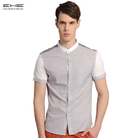 EHE男士夏天短袖衬衫潮流男装修身职业衬衣