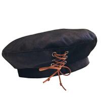 黑色贝雷帽女秋冬季复古网红画家帽韩版百搭日系八角帽英伦蓓蕾帽 M(56-58cm)