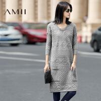 【AMII 超级品牌日】AMII[极简主义]2017年春女装纯色V领大码长袖针织毛衣中长款连衣裙
