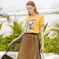 【新品5折价89】Lagogo/拉谷谷2019夏季新款运动感印花黄色短袖T恤女IATT313Q03