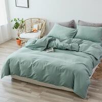 秋冬款网红全棉磨毛四件套保暖1.5m 北欧风纯色被套床单双人床品 2.0m(6.6英尺)床 床单款套件