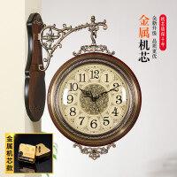 两面挂钟 天蓝美式实木金属双面挂钟静音欧式客厅两面挂表创意时钟复古钟表大号 20英寸以上