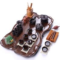 紫砂茶具套装整套茶具茶壶茶杯功夫茶具科技木茶盘 压板荷叶圣龙19头紫砂套装
