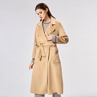 水波纹双面羊绒大衣女中长款2018新款秋冬阿尔巴卡羊驼绒呢子外套