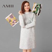 【1件8折/2件6折】AMII 莫小棋合作款冬纯色个性毛呢连衣裙短裙11694714