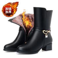 靴子女2019秋冬季韩版女士短靴加绒保暖棉鞋防滑粗跟中筒靴妈妈鞋