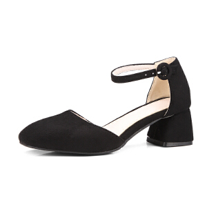 O'SHELL欧希尔夏季上新009-C10-1韩版磨砂绒面粗跟高跟女士凉鞋