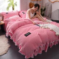 冬季珊瑚绒四件套法兰绒双面绒牛奶绒被套床单床笠水晶绒床上床裙