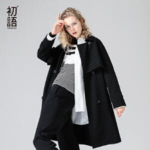 初语2017秋装新款 菱形蕾丝纹黑色翻领中长款风衣女插肩袖外套