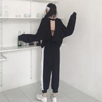 休闲运动套装女春秋2019新款韩版露背卫衣+裤子九分裤洋气两件套