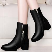 加绒短靴女粗跟鞋高跟鞋2019新款冬季中跟女士黑色靴子保暖中筒靴