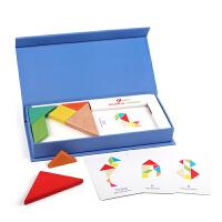 七巧板智力拼图教具幼儿园小学生用一年级宝宝积木质儿童益智玩具