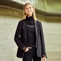 Amii极简时尚名媛翻领西装外套2021秋新蕾丝袖口条纹中长西装外套